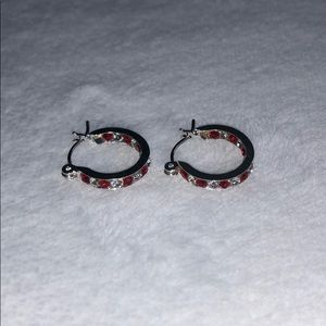 silver and red mini hoops